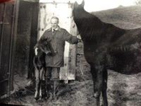 Mike McCarthy 1990 with his two Horses in Ballinasloe.